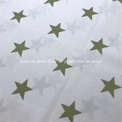 Поплин Хаки звезды на белом - фото 8246