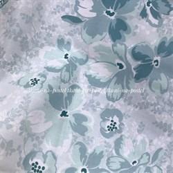 Поплин мятно-голубые цветы - фото 8361