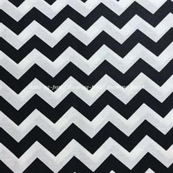Поплин Зигзаги черные на белом - фото 8409