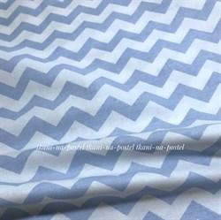 Поплин Зигзаги голубые на белом - фото 8417
