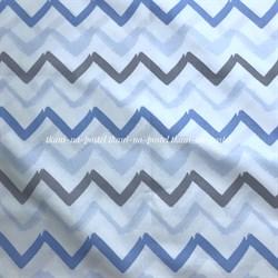 Поплин Зигзаги акварельные серо-голубые - фото 8426