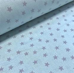 Поплин Звезды серые на мятном - фото 8776