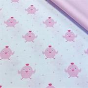 Поплин Розовые цыплята на белом