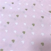 Поплин молочно-золотые сердечки на розовом