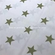 Поплин Хаки звезды на белом