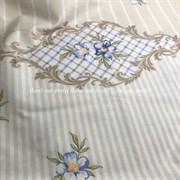 Поплин бело-бежевые полоски с бордюром