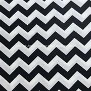 Поплин Зигзаги черные на белом