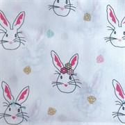 Поплин Кролики на белом