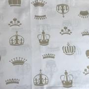 Поплин золотые короны на белом