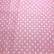 Поплин Белый горошек на розовом