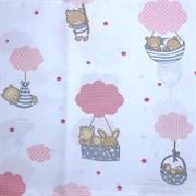 Поплин Мишки на воздушном шаре розовые