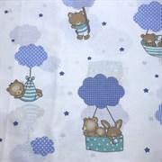 Поплин Мишки на воздушном шаре голубые